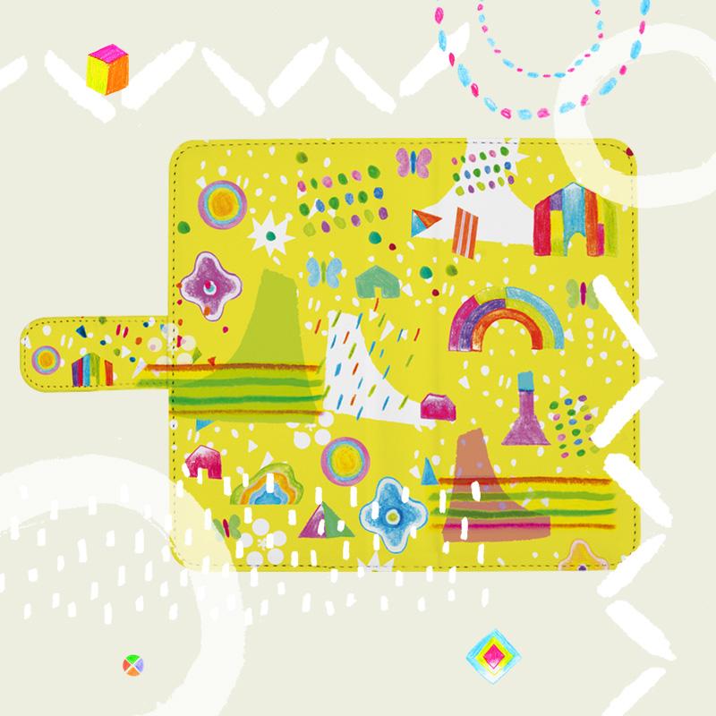 黄色を基調にして自然や子供のモチーフを取り入れたオリジナルイラストの手帳型スマホケース