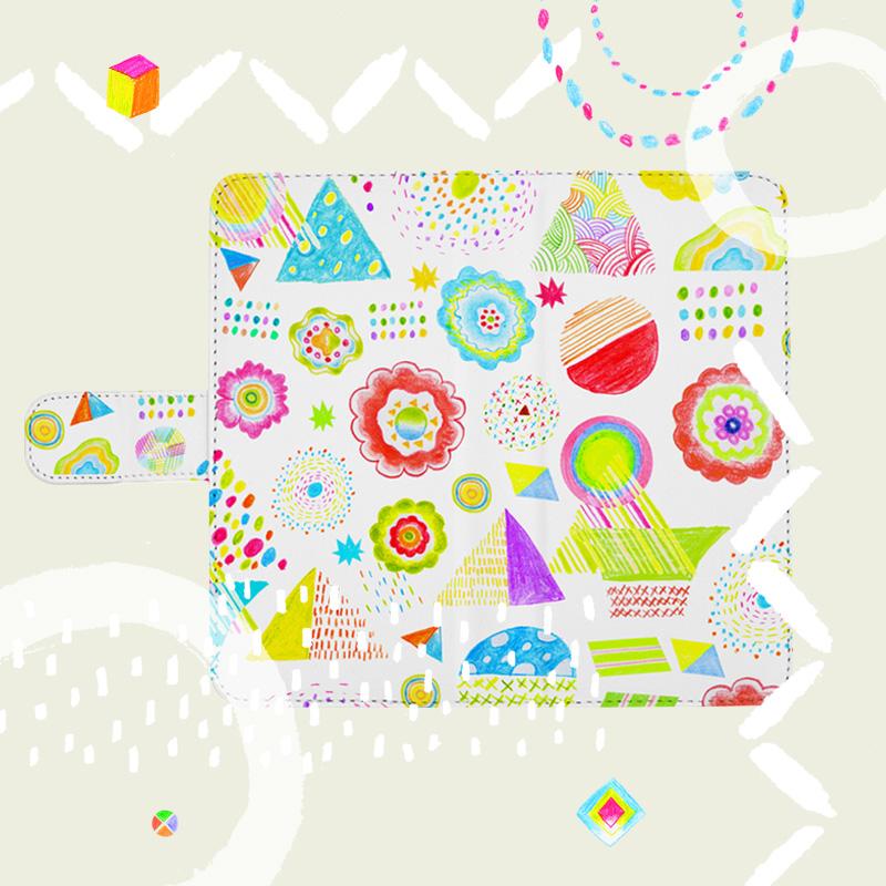 花柄や幾何学模様を取り入れたオリジナルイラストの手帳型スマホケース
