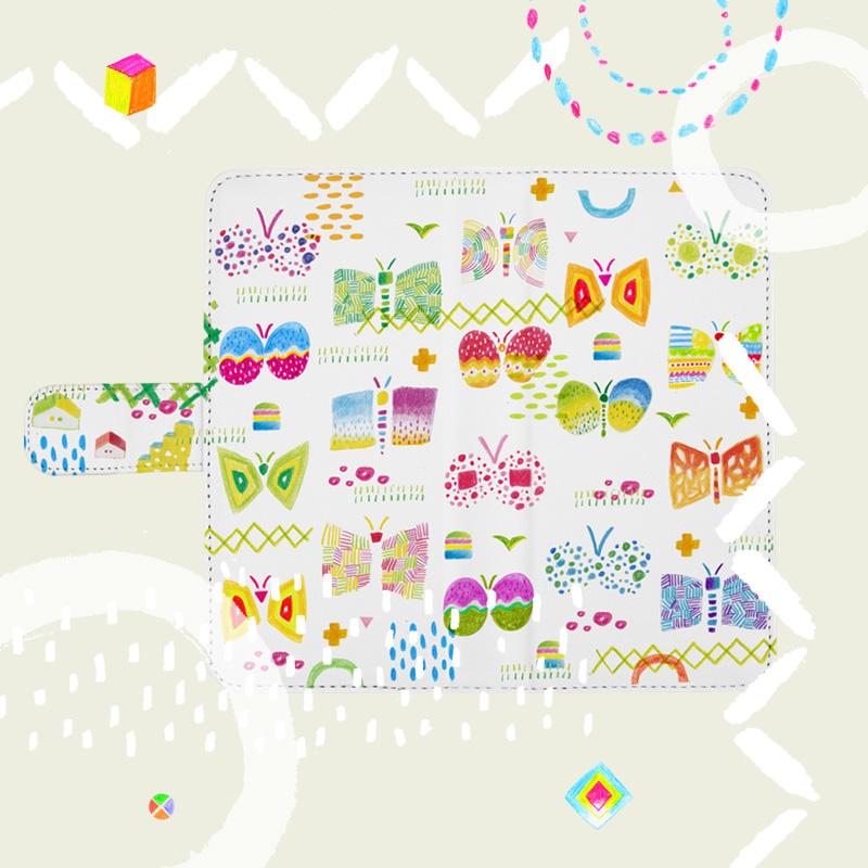 様々な蝶々を取り入れたオリジナルイラストの手帳型スマホケース
