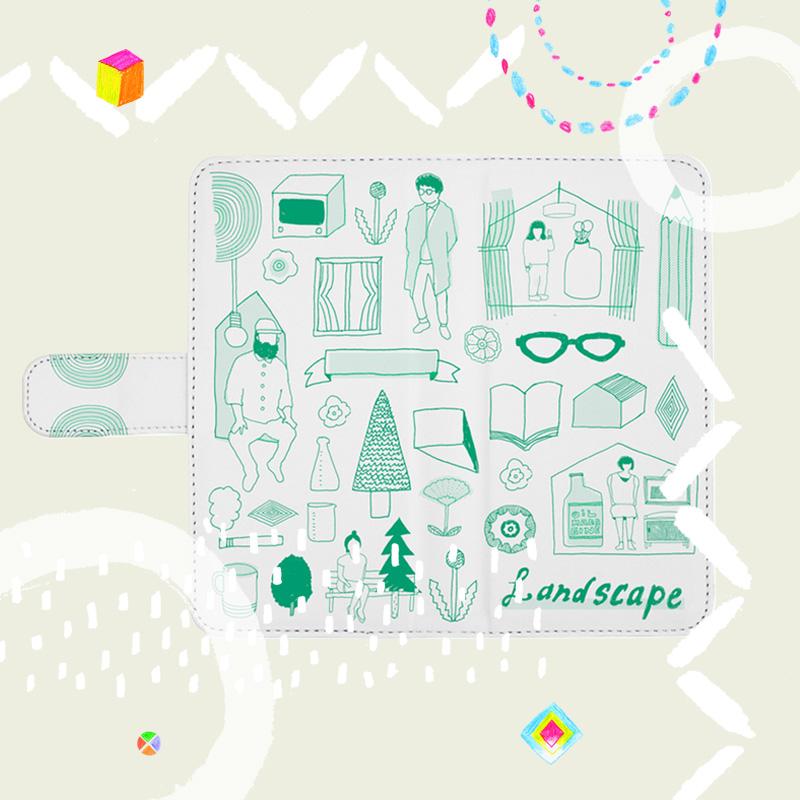 線画で日常の風景や生活アイテムを取り入れたオリジナルイラストの手帳型スマホケース